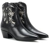Saint Laurent Rock 40 Snakeskin Embellished Cowboy Ankle Boots