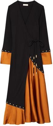 Tory Burch Mixed-Material Wrap Dress