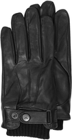 Armani Jeans Black Leather Men's Gloves