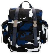 Valentino Camo-Print Nylon Backpack, Marine Blue