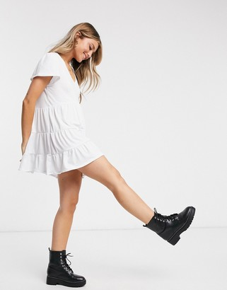 In The Style tiered mini smock dress in white