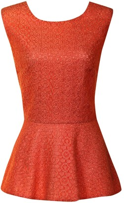 Little Mistress Burnt Orange Embroidered Lace Overlay Peplum Top
