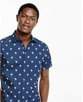 Express palm tree print short sleeve shirt