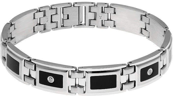 JCPenney FINE JEWELRY Mens 1/8 CT. T.W. Diamond Stainless Steel & Resin Link Bracelet