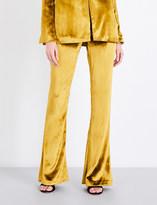 Galvan Panne flared velvet trousers