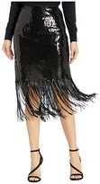Vince Camuto Fringe Sequin Side Zip Skirt (Rich Black) Women's Skirt