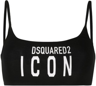 DSQUARED2 Logo-Print Bralette Top