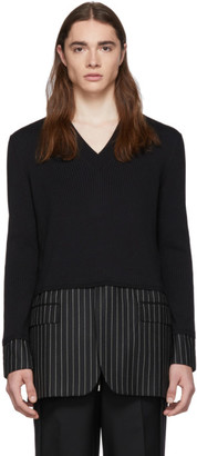 Burberry Black Silk Pinstripe Sweater