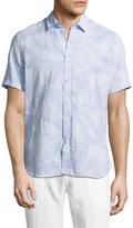 Toscano Printed Spread Collar Linen Sportshirt