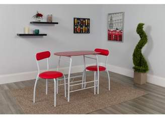 Flash Furniture Sutton 3-Piece Space-Saver Bistro Set with Red Glass Top Table and Red Vinyl Padded Chairs