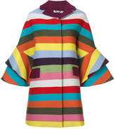 Mary Katrantzou rainbow striped frill cuff coat