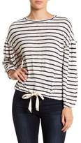 Socialite Balloon Sleeve Drawstring Hem Striped Tee