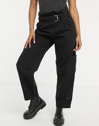 AllSaints Mona paperbag waist untility jeans in black