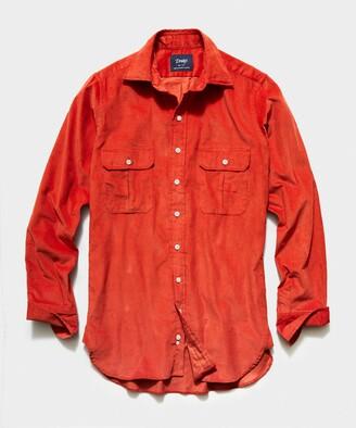 Drakes TS x Corduroy Workshirt in Orange
