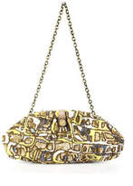 Santi Yellow Gray White Bronze Sequined Hidden Magnet Closure Clutch Handbag