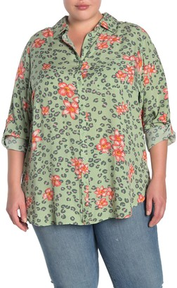 Velvet Heart Elisa Floral Leopard Print Roll Sleeve Shirt (Plus Size)