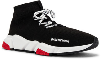 Balenciaga Speed Light Sneaker Lace Up in Black & White & Red & Black | FWRD