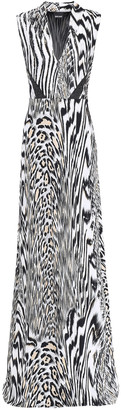 Just Cavalli Metallic-trimmed Printed Stretch-jersey Gown