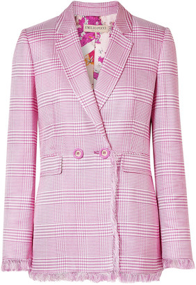 Emilio Pucci Double-breasted Fringed Houndstooth Woven Blazer