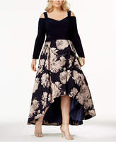 Xscape Evenings Plus Size Printed High-Low Gown