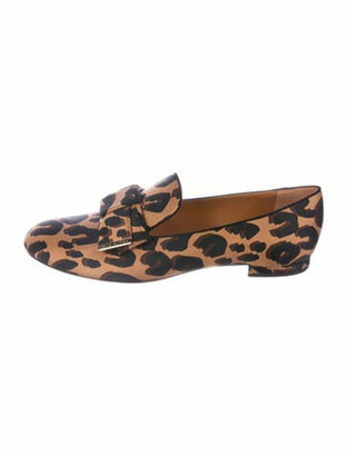 Louis Vuitton Animal Print Bow Accents Loafers Brown