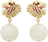 Amrita Singh Earrings Gold - Austrian Crystal & Goldtone Lion Drop Earrings