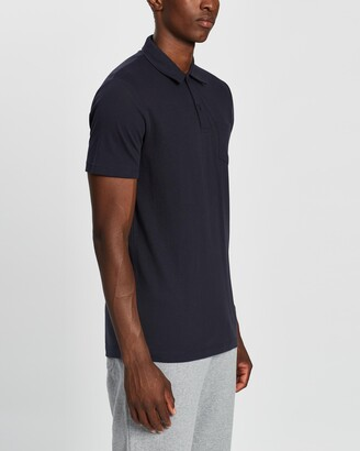 Sunspel Men's Navy Polo Shirts - Short Sleeve Riviera Polo - Size L at The Iconic