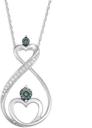 10k White Gold 1/10 Carat T.W. Blue & White Diamond Heart Infinity Motherly Love Pendant