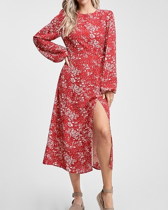 Express En Saison Floral Print Long Sleeve Midi Dress