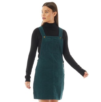 Brave Soul Womens Alexa Corduroy Dungaree Dress Forest Green