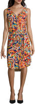 Liz Claiborne Sleeveless V-Neck Button-Front Dress