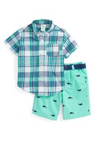 Little Me Infant Boy's Plaid Shirt & Whale Print Shorts Set