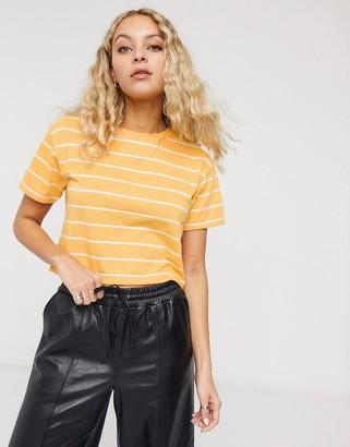 ASOS DESIGN boxy crop t-shirt in clean stripe in yellow