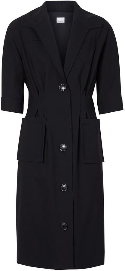 Burberry Short-sleeve Stretch Wool Dress