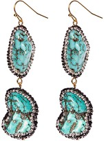 Avah and Ella Stormy Sea Nugget Turquoise and Pave Diamond Two Tier Drop Nickel Earrings