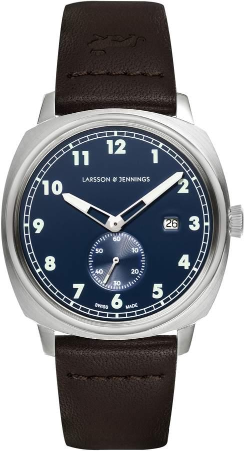 Larsson & Jennings Editor 38mm Watch Silver & Navy Sandblasted