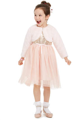 Blueberi Boulevard Little Girls Sequined Glitter Dress & Faux-Fur Shrug