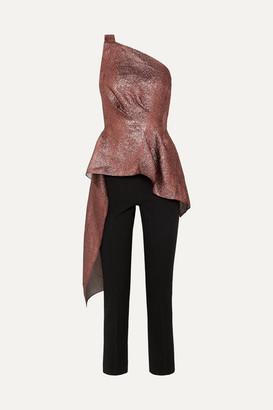 Roland Mouret One-shoulder Asymmetric Metallic Textured-organza And Crepe Jumpsuit - Burgundy