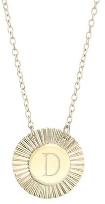 Jennifer Zeuner Jewelry Iris Rudy 14K Gold Vermeil Engraved Initial Pendant Necklace