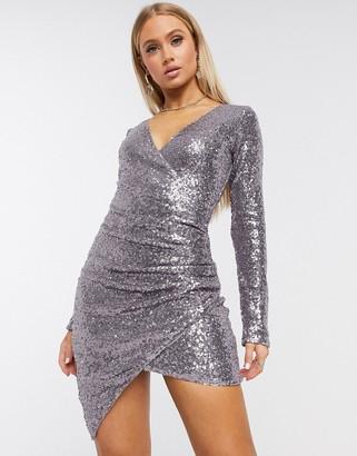 Club L London Club L wrap front sequin mini dress in lilac