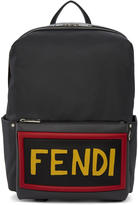 Fendi Grey Nylon and Leather Logo Backpack
