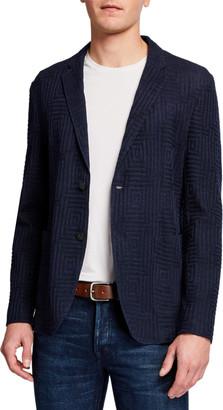 Emporio Armani Men's Textured Jersey Two-Button Jacket
