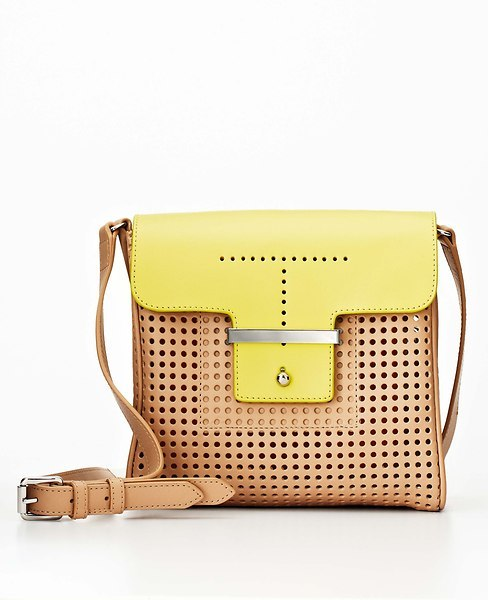 Ann Taylor Colorblock Perforated Leather Mini Bag