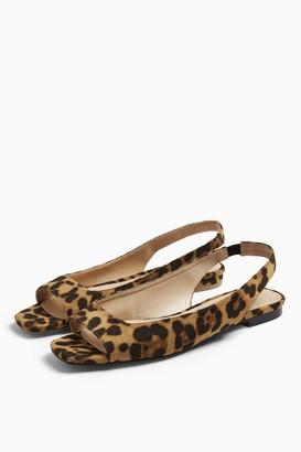Topshop ANNIE Leopard Print Square Peep Slingback Shoes