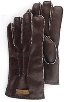 FUR WINTER Faux Suede Shearling Sheepskin Mens Gloves Mittens GRY M