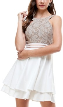 City Studios Juniors' Glitter Lace Fit & Flare Dress
