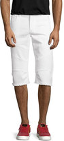 True Religion Rocco Active Slim-Fit Moto Shorts, White