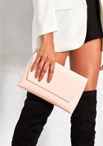 Missy Empire Aida Pink Leather Envelope Clutch