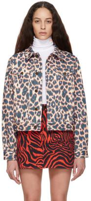 Calvin Klein Pink and Navy Leopard Denim Jacket