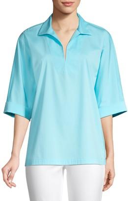 Lafayette 148 New York Nicole Stretch Cotton Tunic Blouse